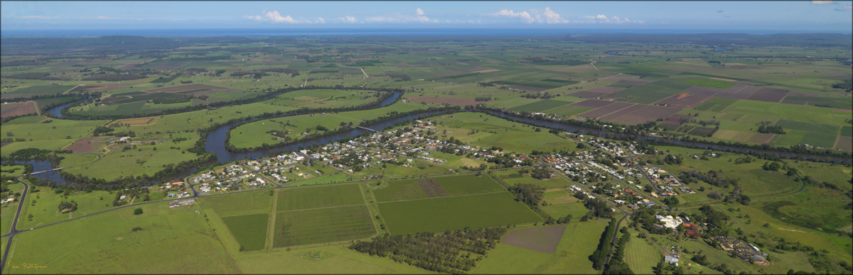 View of Coraki from the air