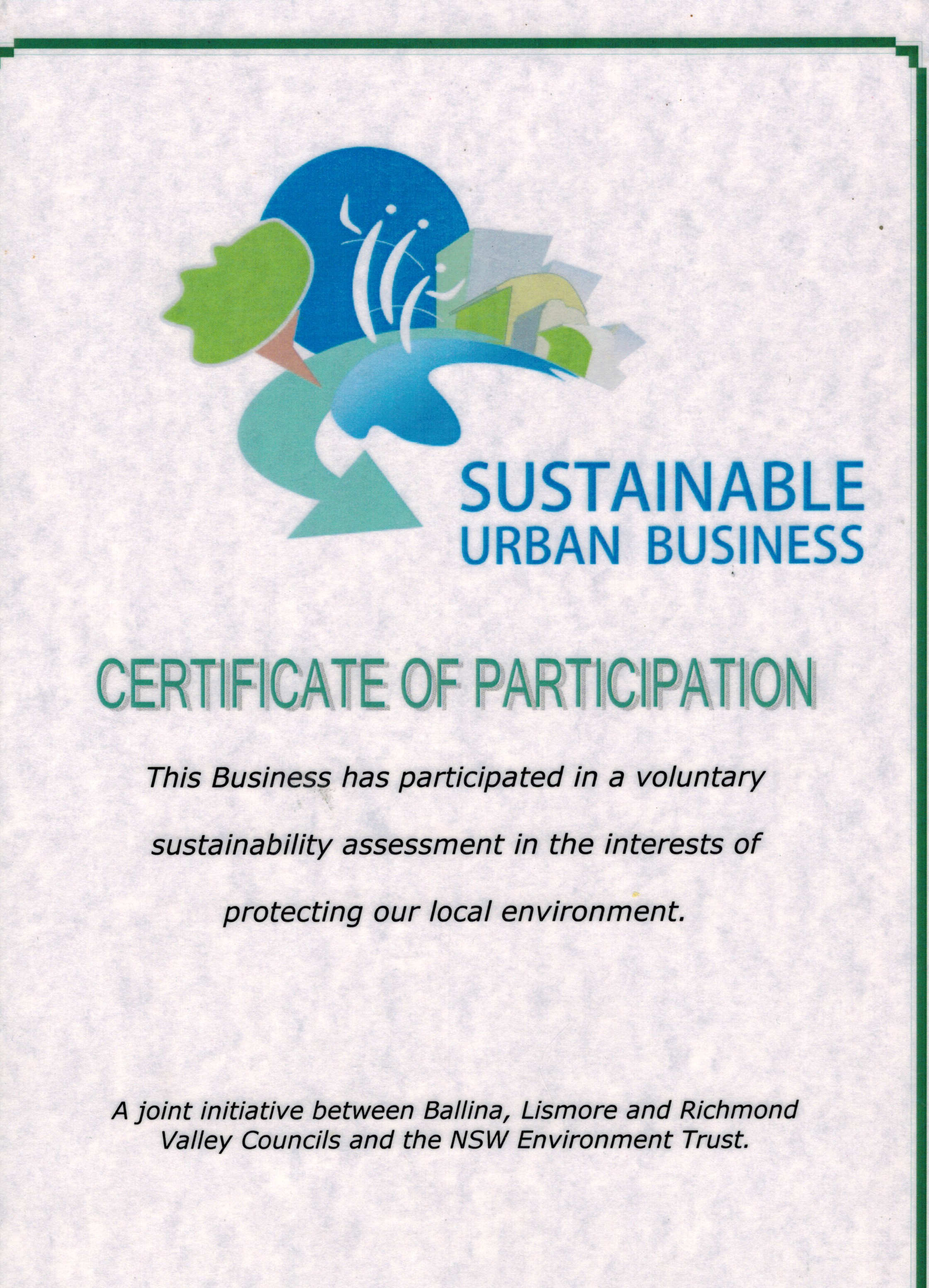 Certicate of a Sustainable Urban Business